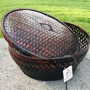 NEW Pier 1 Imports Bamboo Weave Basket Bin